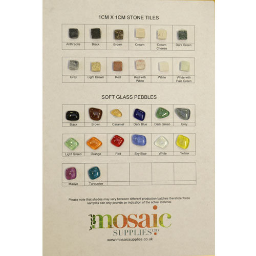 1cm Natural Stones and Glass Pebbles Sample Card