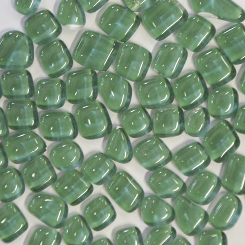 Dark green soft glass pebbles