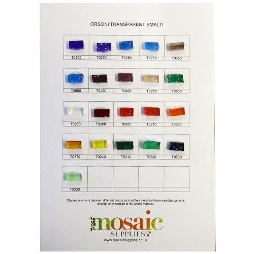 Transparent Smalti sample card