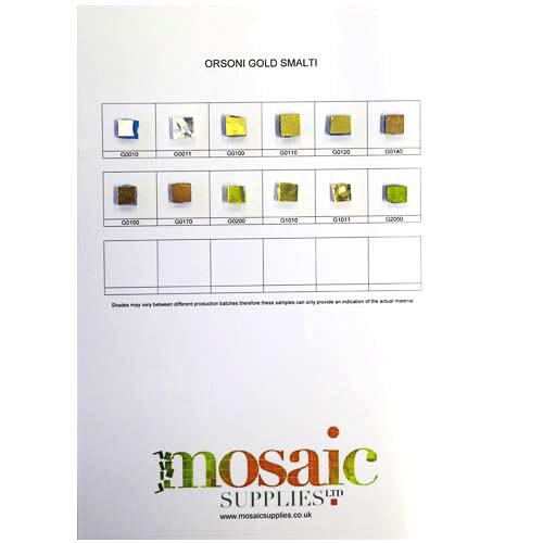 Gold smalti sample card