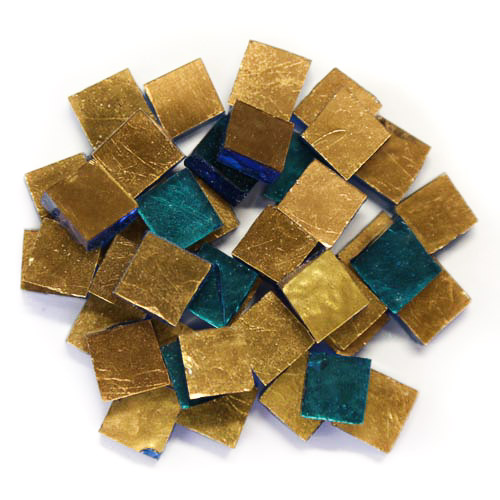 Gold Smalti G0160 copper gold premium cut 1cm x 1cm