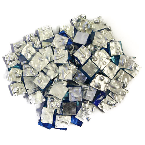 Silver Smalti G0011 wavy premium cut 1cm x 1cm x 3-4mm on blue glass