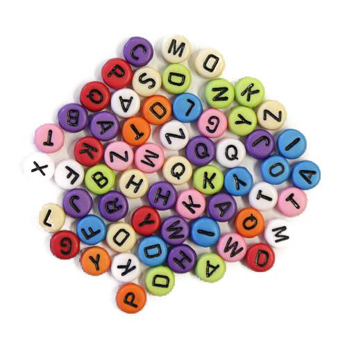 100 black on rainbow acrylic letter beads