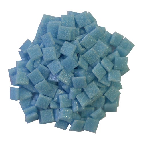 1cm Light Turquoise Vitreous Glass Tiles