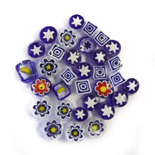 Blue Millefiori mixed patterns and mixed sizes
