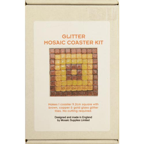 Freestyle Glass Glitter Tile Coaster Kit - Brown, Copper & Gold