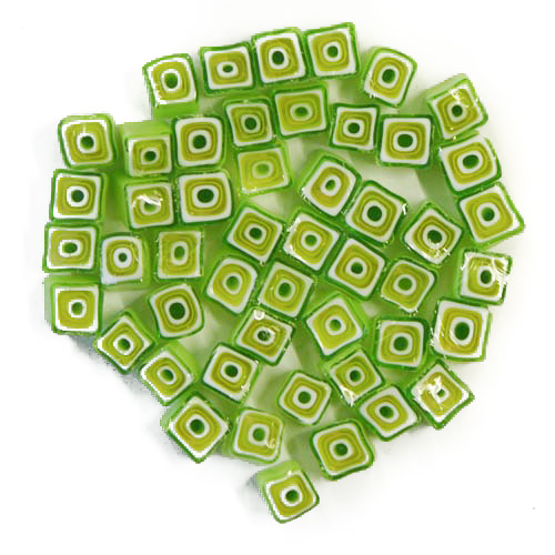 Green square millefiori