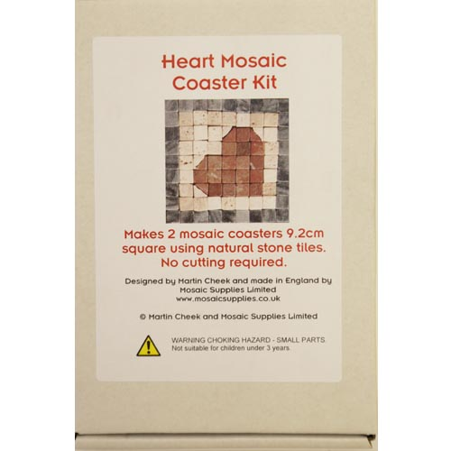 Natural stone mosaic heart coaster kit by Martin Cheek