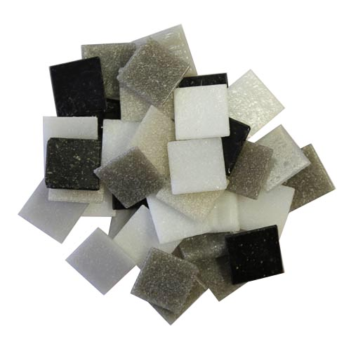 Mixed black, white & grey 2cm x 2cm vitreous glass tiles