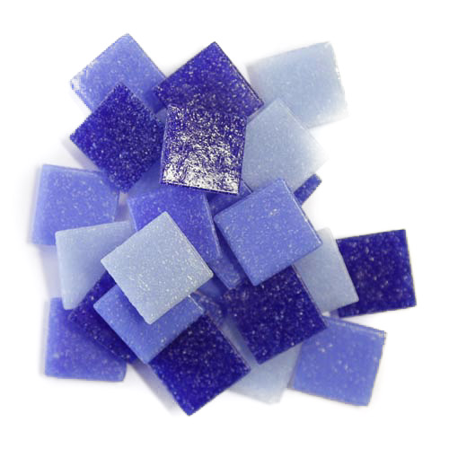 Mixed blue 2cm x 2cm vitreous glass tiles