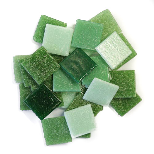 Mixed green 2cm x 2cm vitreous glass tiles