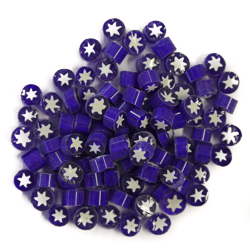 Semi Transparent millefiori - White stars on dark blue