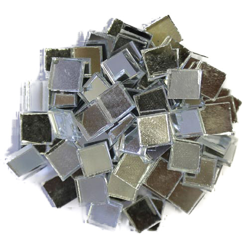 Silver Mirror Tiles 1cm x 1cm X 3mm hand cut