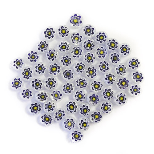 Transparent blue/yellow millefiori flowers