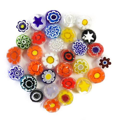 Transparent millefiori - mix of colours XL