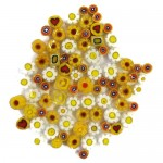 Yellow Millefiori mixed patterns and mixed sizes