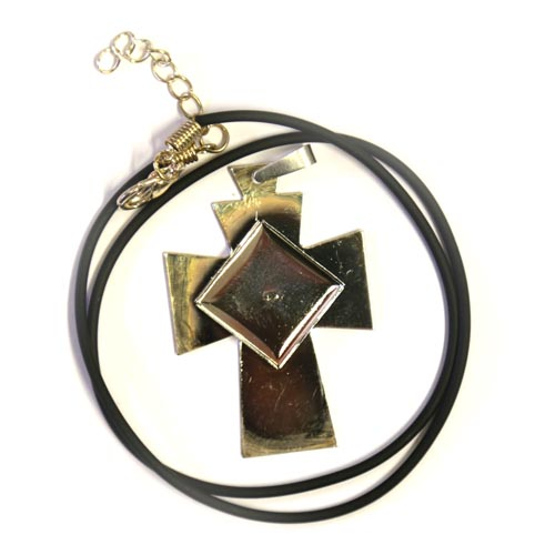 Silver coloured cross pendant