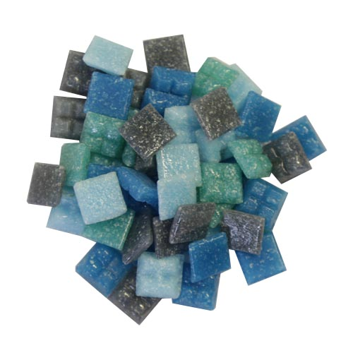 1cm x 1cm vitreous glass mosaic tiles marine mix