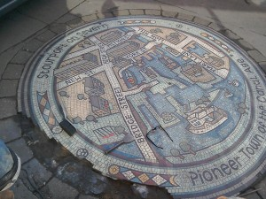 Stourport mosaic repair in progress