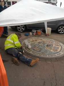 Rob Turner working on the Stourport Mosaic