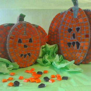pumpkin pair, pumplin mosaic kit, mosaic supplies, mosaic art