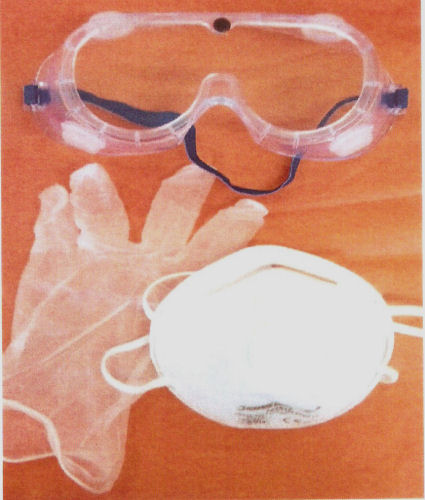 mask, goggles and disposable gloves