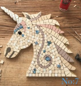 Unicorn head mosaic kit ready to grout