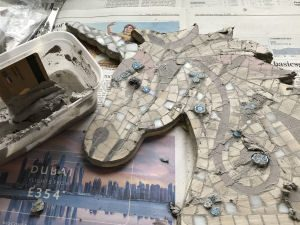 Unicorn head mosaic kit grouted before cleaning