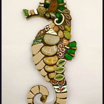 seahorse mosaic by Alison Bullock